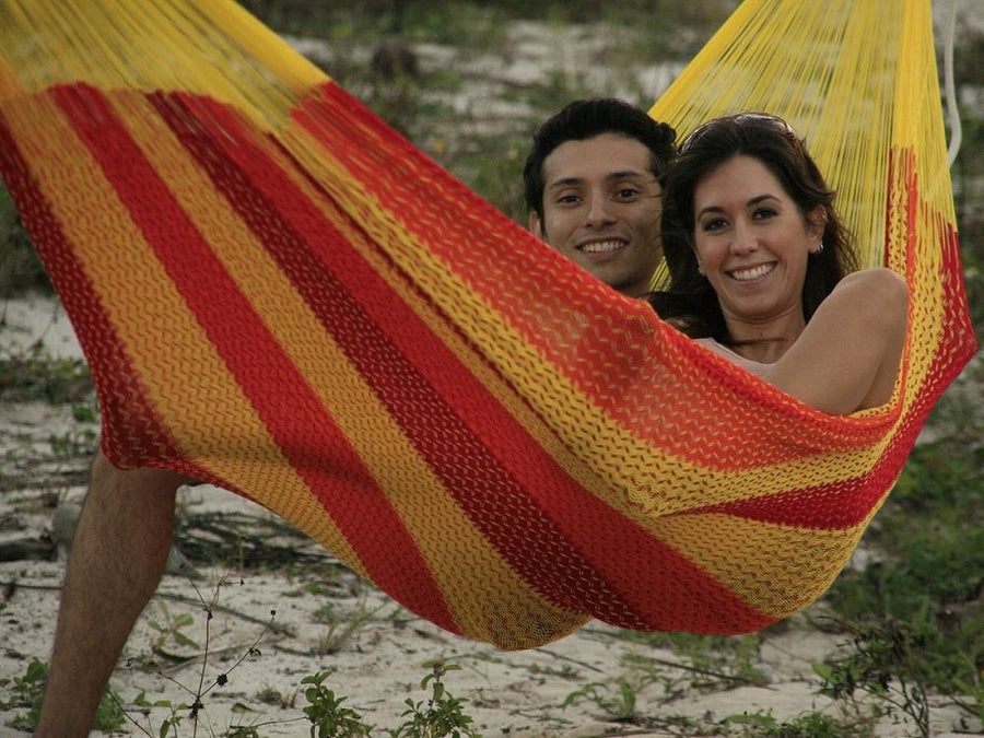 Mexican woven hammock for two people