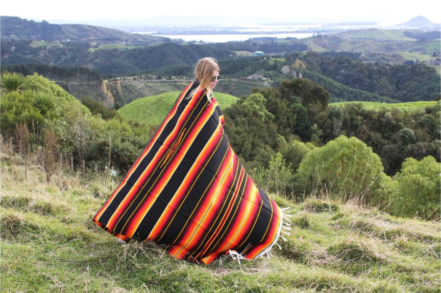 Soft and warm Mexican serape blanket