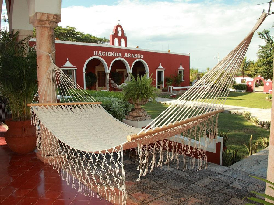 White Bar Style Hammock - Mexican Woven