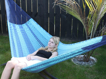 Blue two tone Mexican cotton hammock