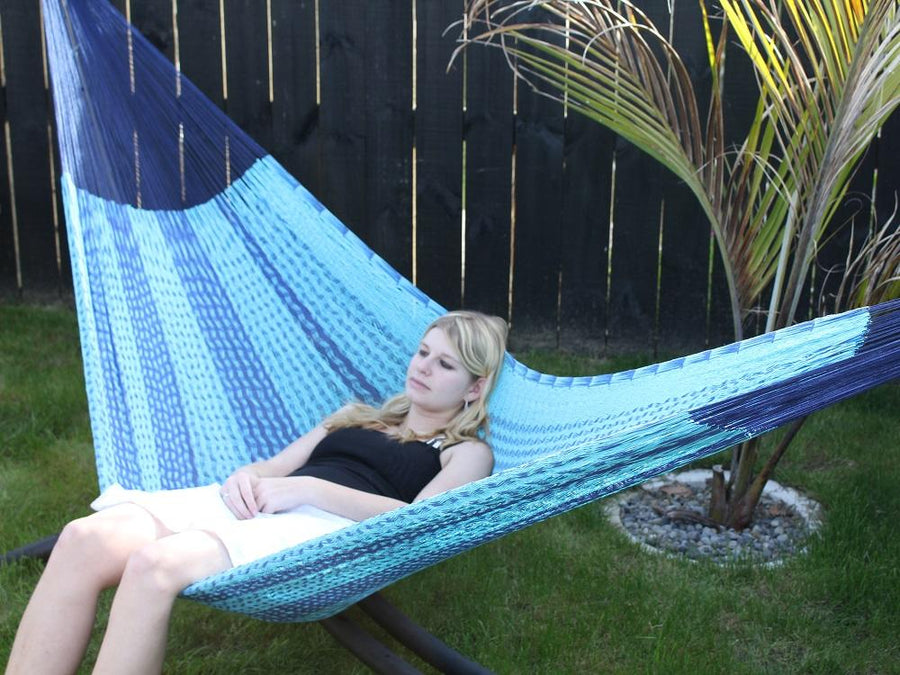 Two tone blue queen size Mexican hammock