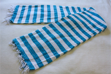 Mexican Falsa Blanket in Light Blue and White