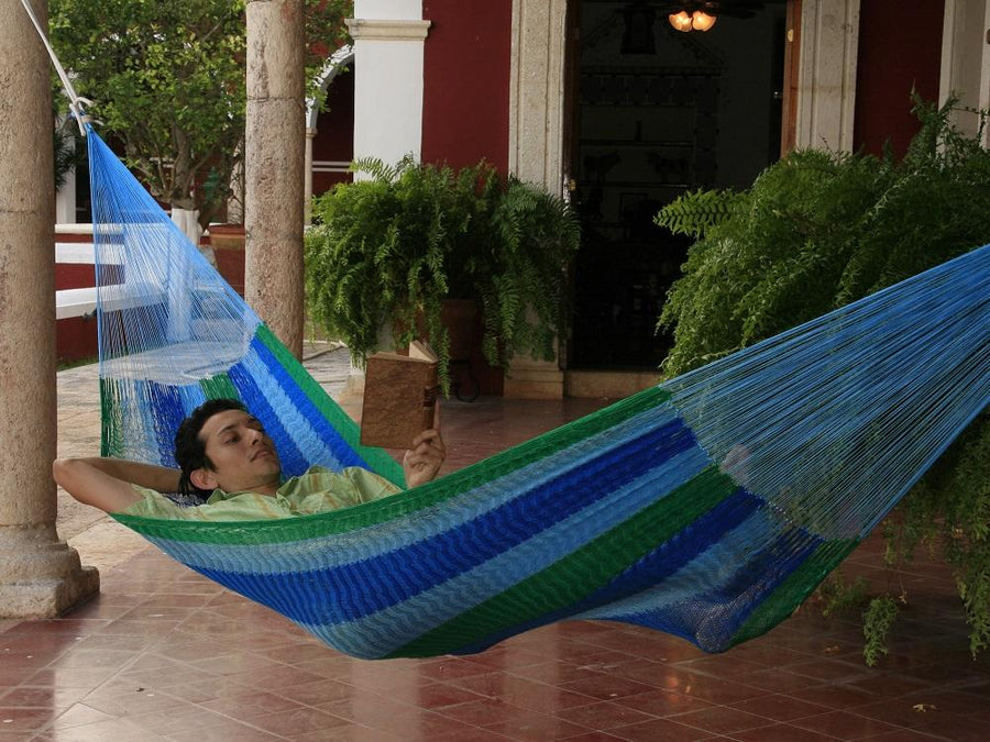 Green and blue Mexican hammock