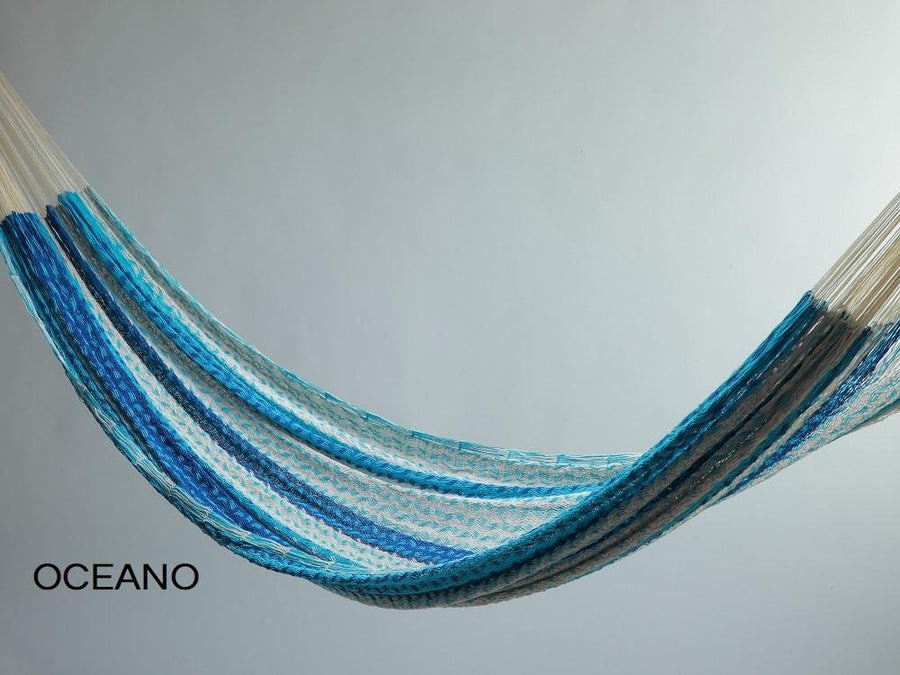Hammock - Thick Cord Woven Mexican - Blue, Blue, White Coloured
