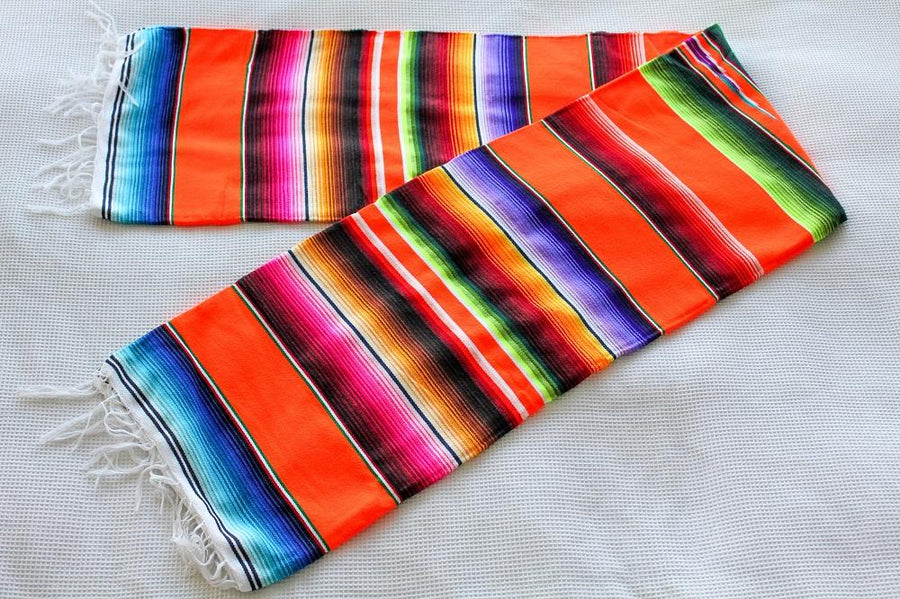 Bright Orange Mexican Made Sarape Striped Blanket