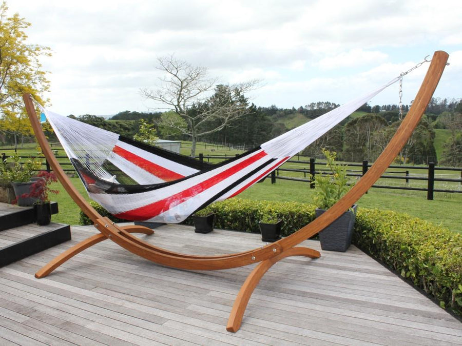 Red, Black and White Woven Hammock