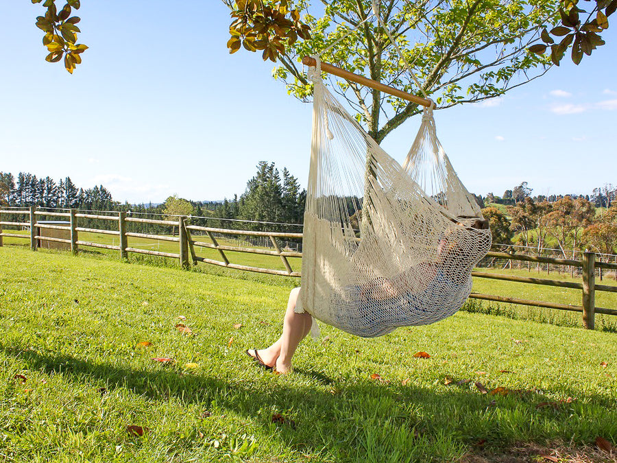 White Cotton Mexican Chair Hammock NZ