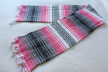 Mexican Falsa Blanket - Pink and Grey