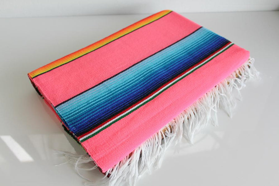 Pastel Pink Mexican Sarape Throw