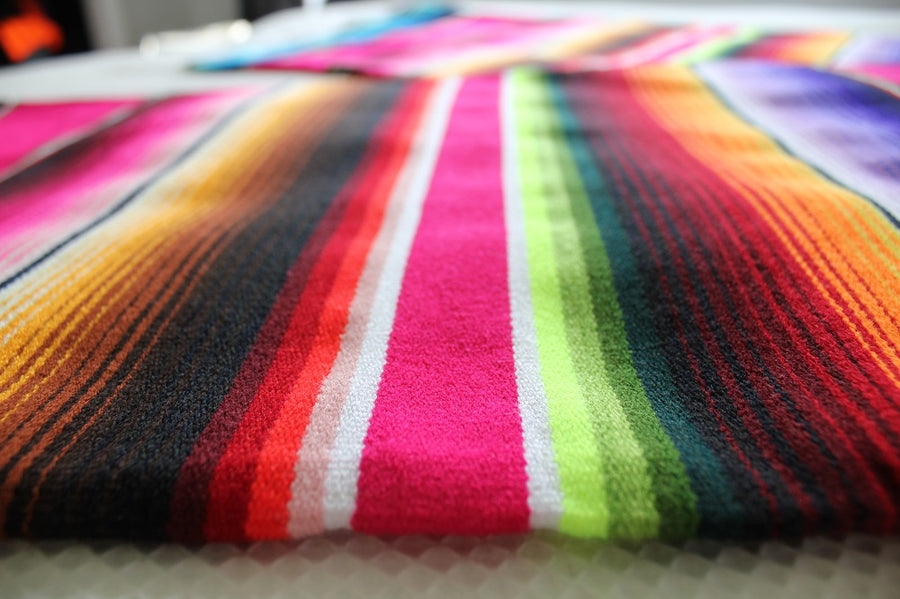 Serape Mexican Striped Pink Blanket
