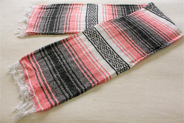 Pink, black, grey, white Mexican Falsa blanket