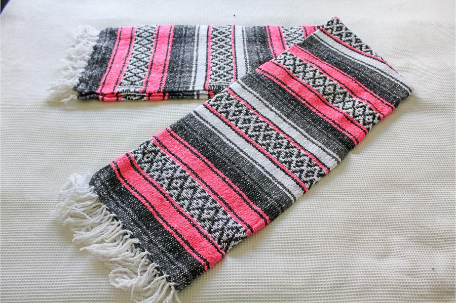Pink and Grey Striped Mexican Blanket