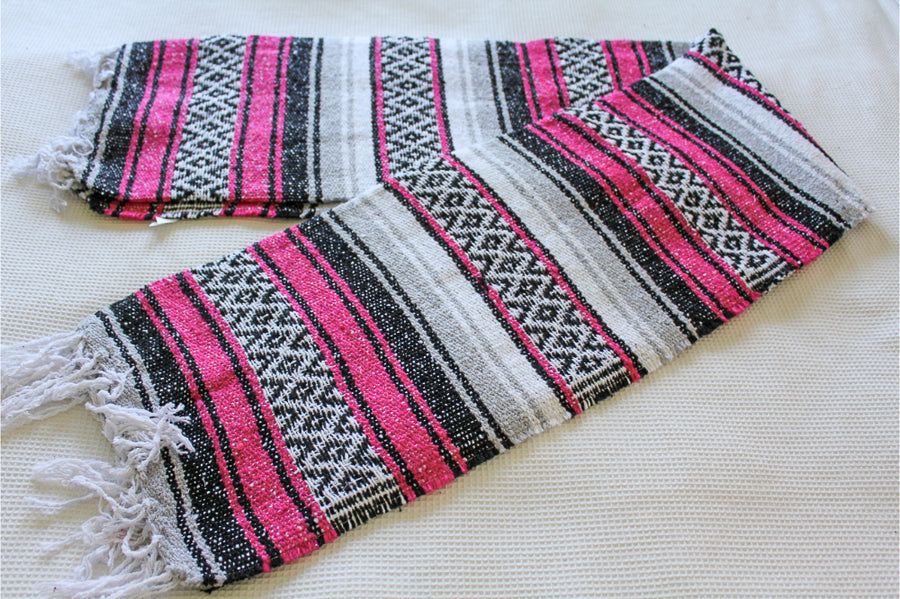 Pink, white and black Mexican Yoga Blanket