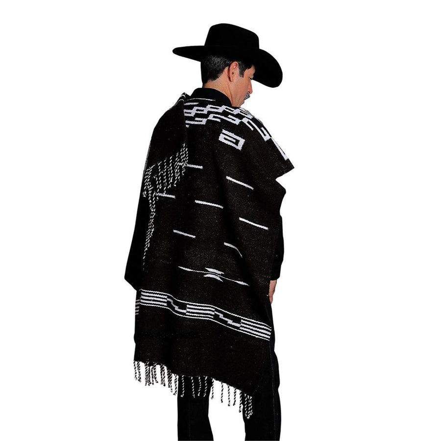 Poncho - Black and White Western Style