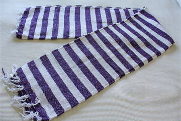 Purple and white striped yoga rug