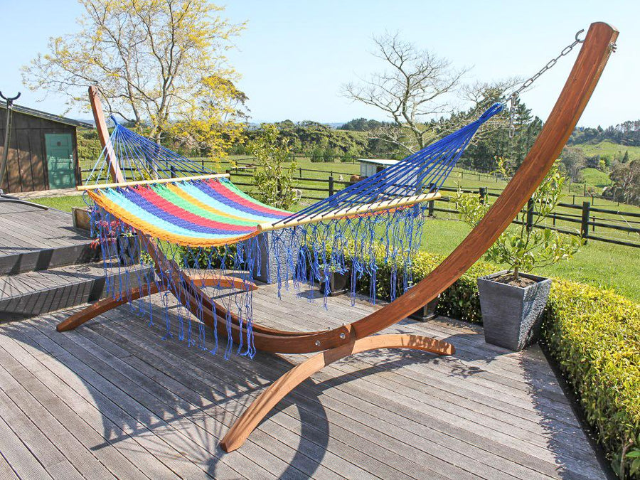 Mexican Spreader Bar Hammock - Rainbow - Cotton - Handwoven