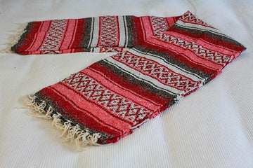 Mexican red and pink stripe falsa blanket