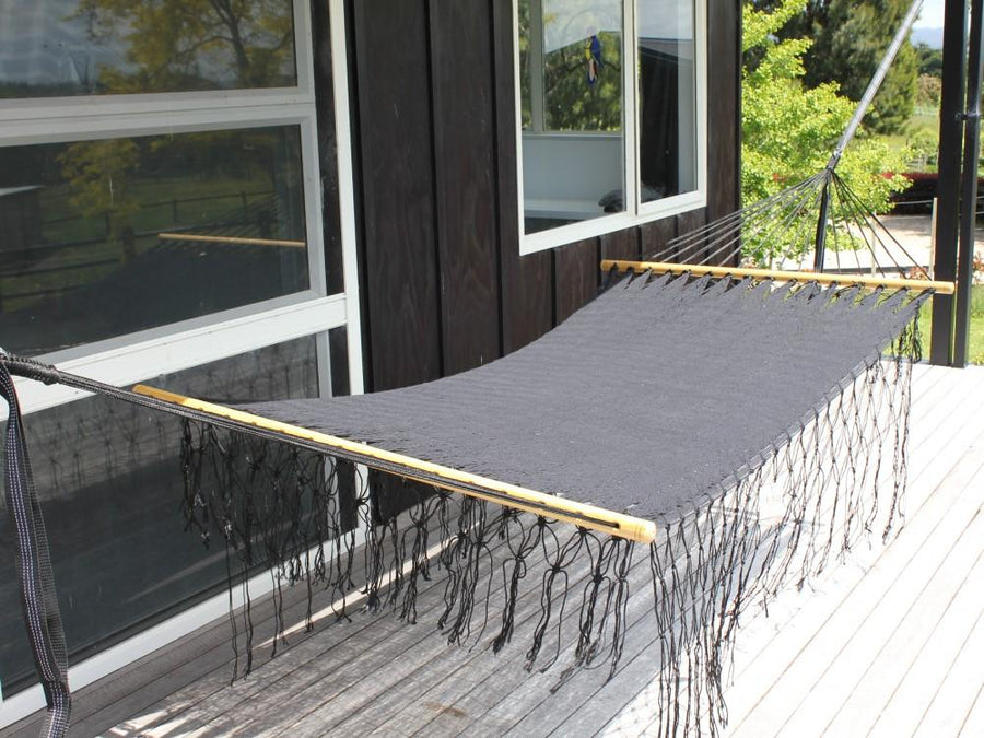 Black woven Mexican bar hammock