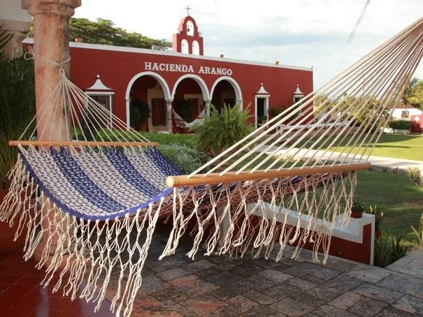 Resort Style Mexican Hammock - Blue and White Cotton