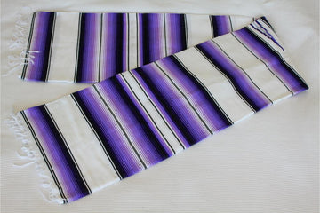 Purple, White and Black Mexican Blanket or Rug