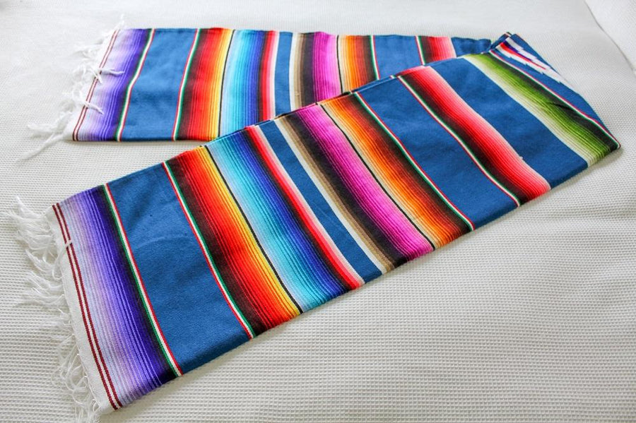 Blue Sarape Mexican Blanket