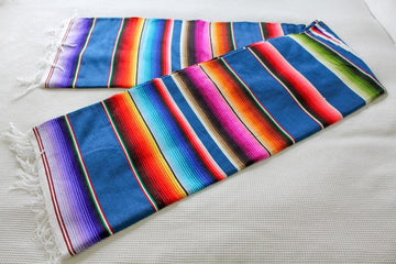 Mexican Blanket Blue with Multicolour Stripes