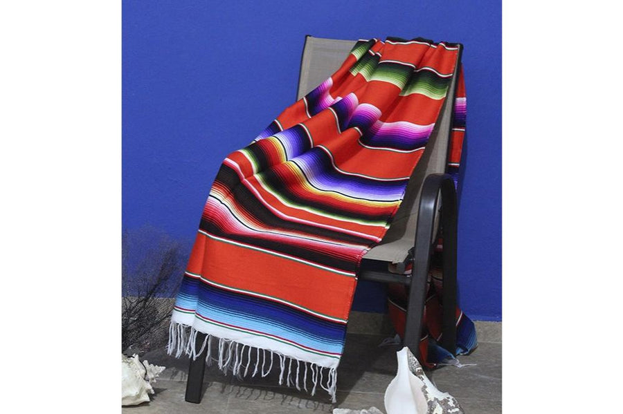 Sarape Blanket from Mexico - Orange and Mutlicolour