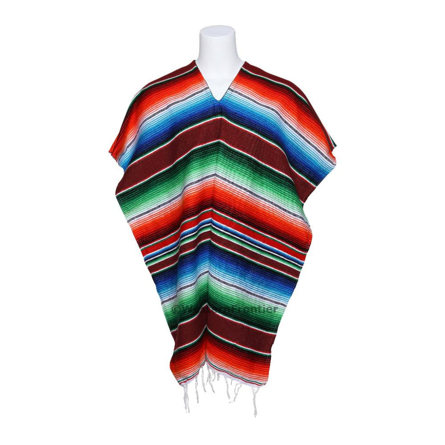 Mexican Striped Poncho - Maroon