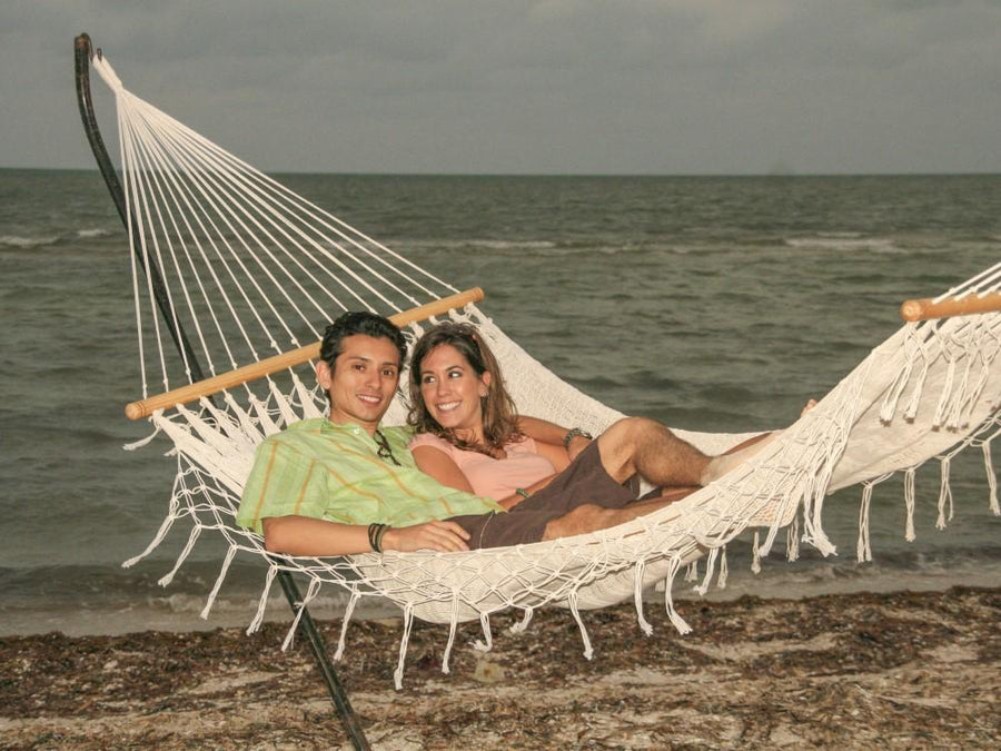 Two Person Bar Hammock - White Cotton - Mexican Made