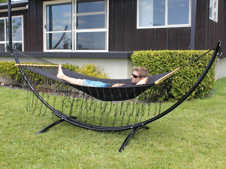 Metal Stand and Hammock - Black Resort Style