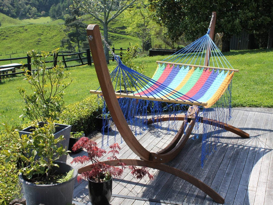 Rainbow Coloured Bar Hammock - Fair Trade Mexican Made