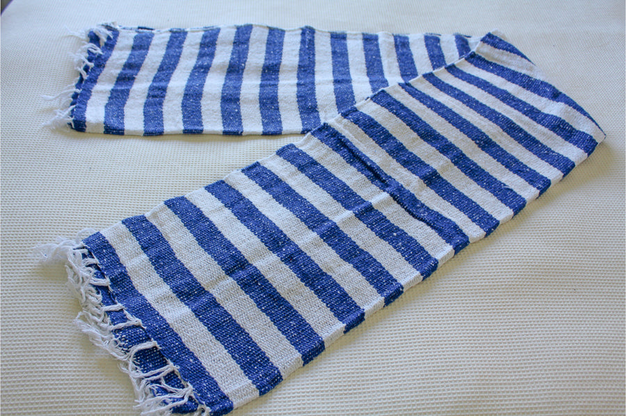 Striped blue and white Mexican blanket