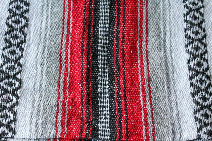 Striped Mexican Blanket - Red, White, Black, Grey