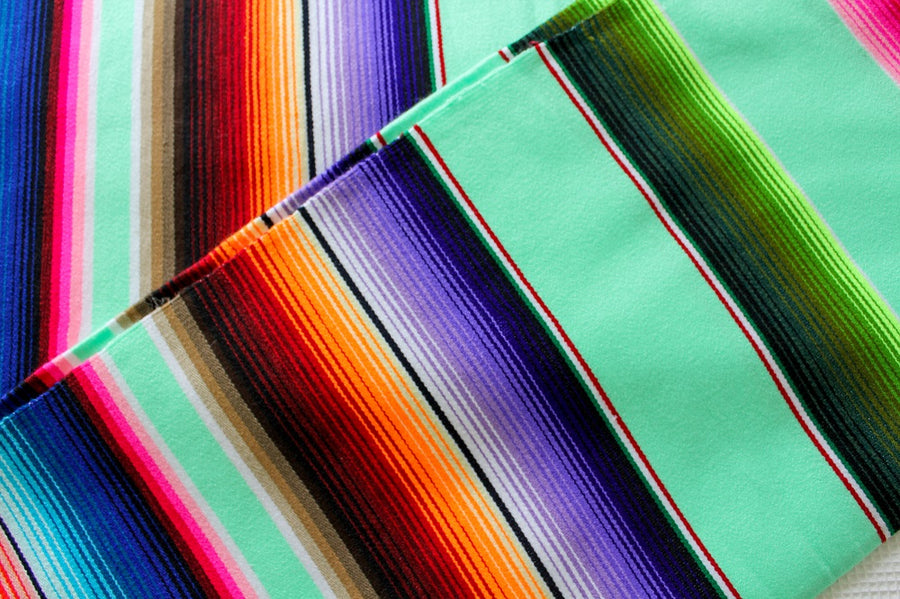 Brightly Coloured Mexican Blanket - Spearmint Green