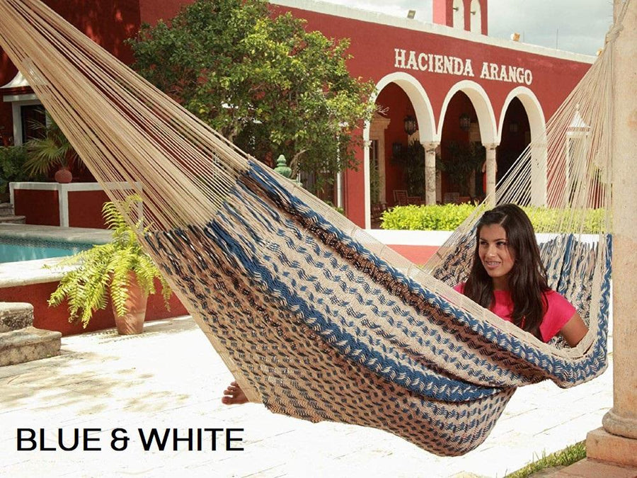 Blue and White Thick Cotton Mexican Woven Hammock