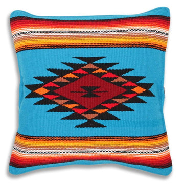Turquoise Blue Mexican Cushion Cover - Sarape Diamond Design