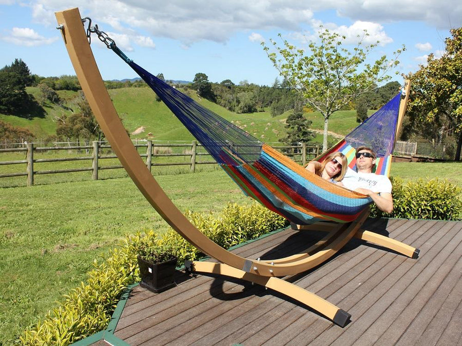 Free standing curved metal stand and Mexican hammock