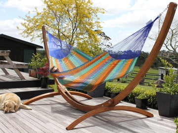 Bright Coloured Mexican Hammock and Stand