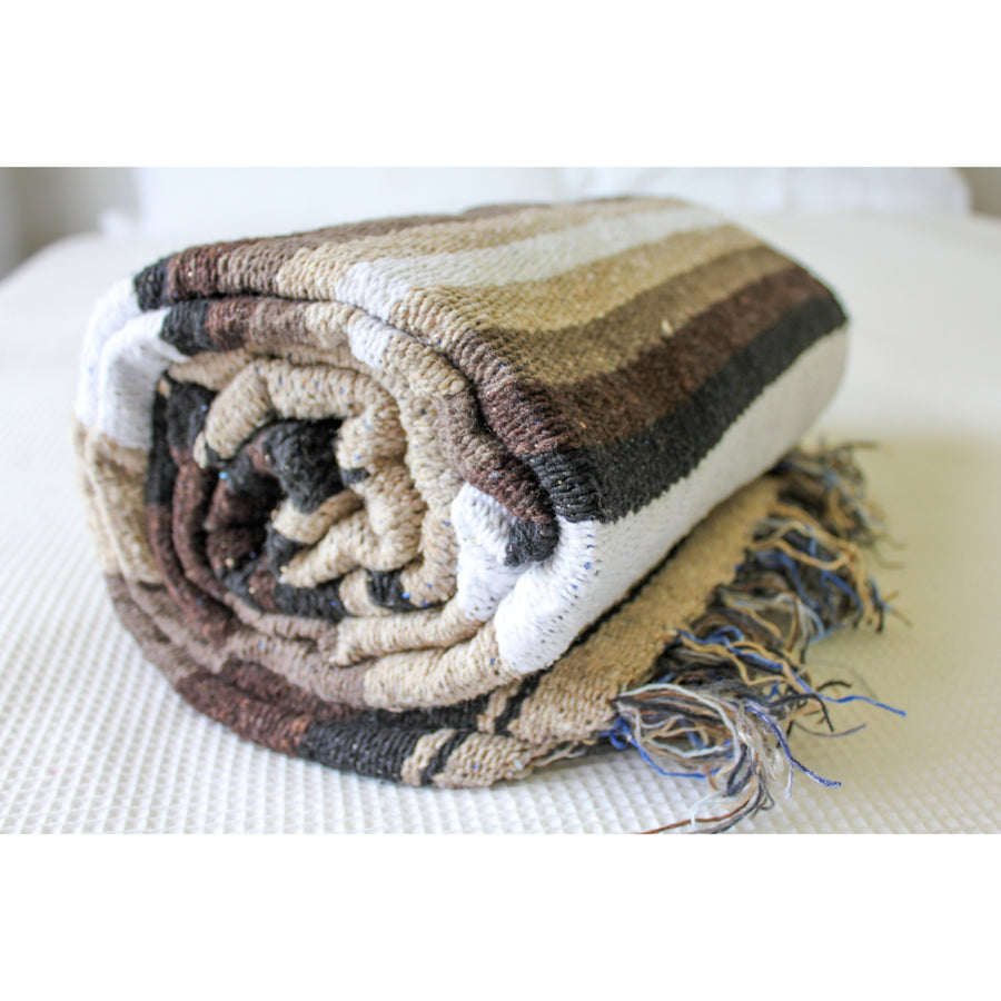 Brown, white and Beige Mexican Blanket