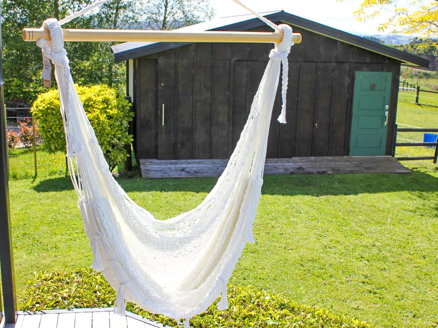 White Chair Hammock - Mexican Made - Polyester Cord