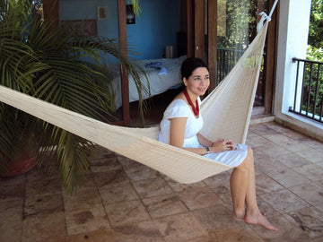 Mexican White Cotton Woven Hammock