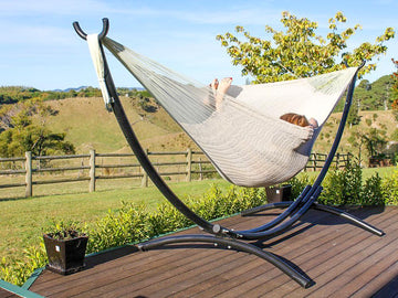 White hammock and metal stand