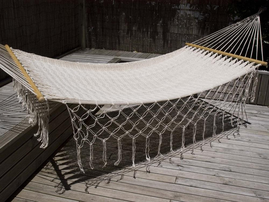 Resort style white cotton hammock