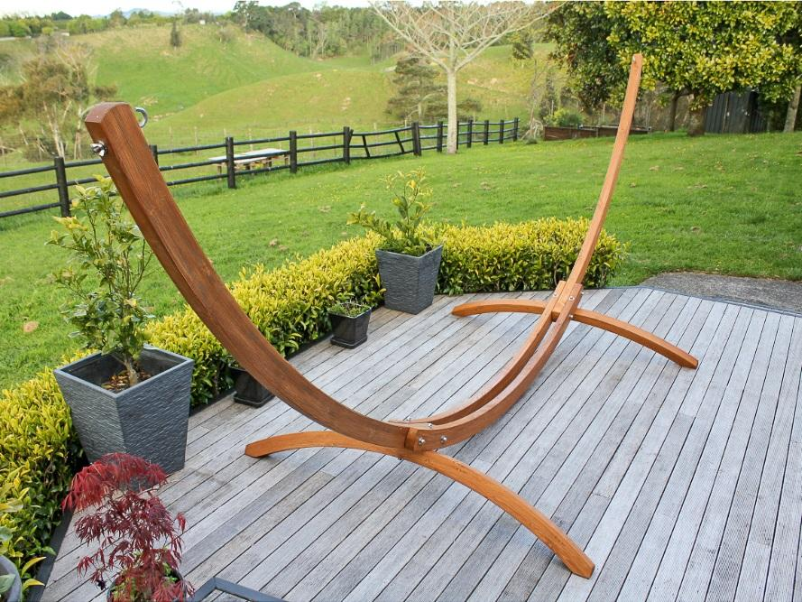 Arc Shaped Wooden Hammock Stand