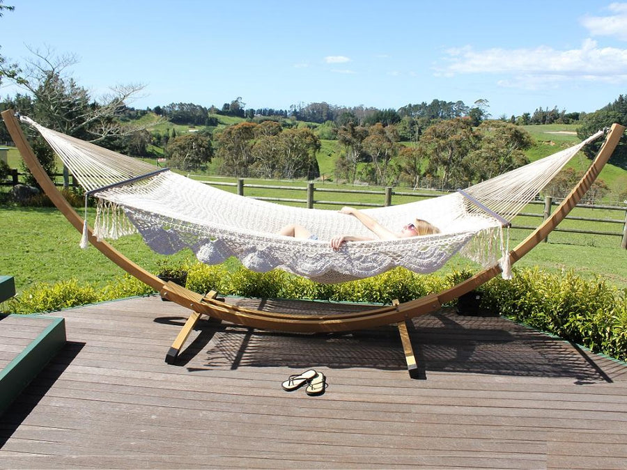 King size resort hammock and wood look stand
