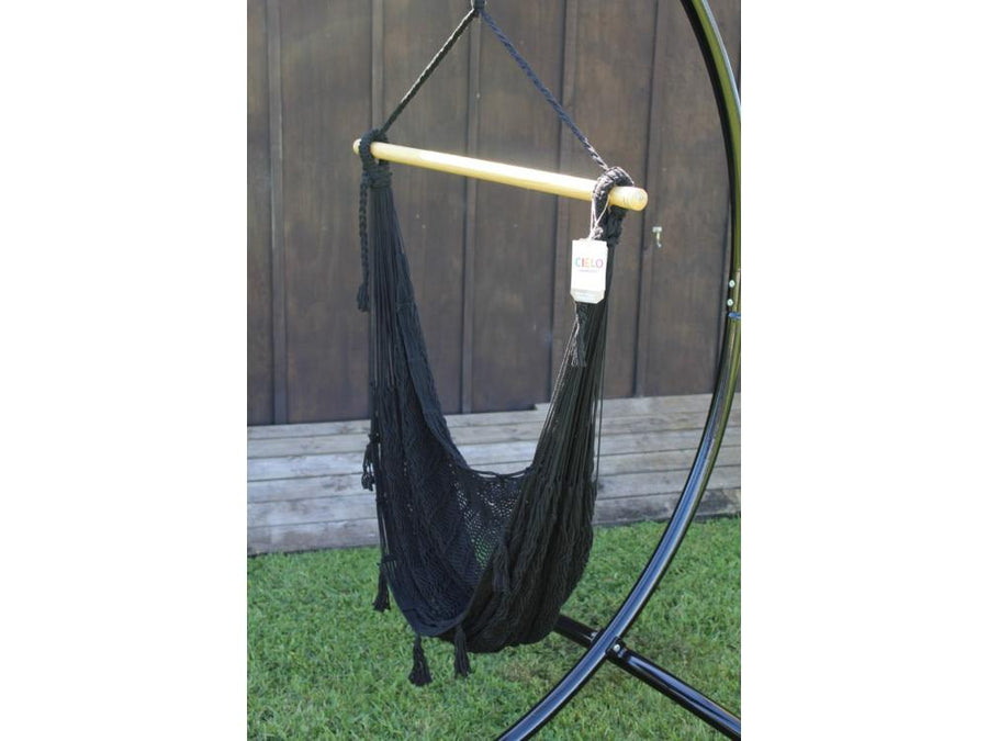 Durable Weather Resistant Black Polyester Outdoor Hammock Chair