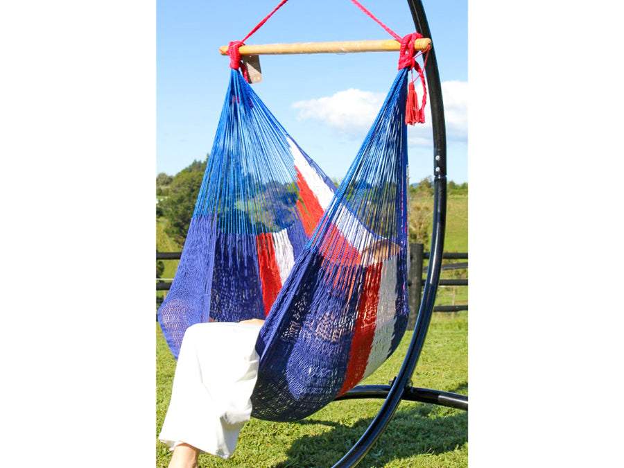 Hammock hanging chair - red, white and blue