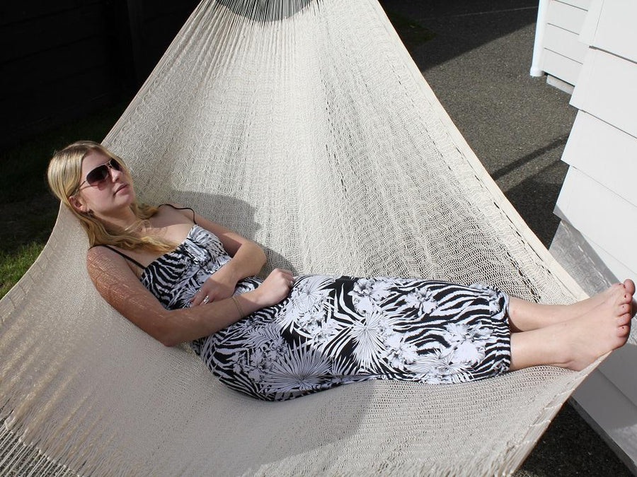 Mexican white cotton handwoven hammock