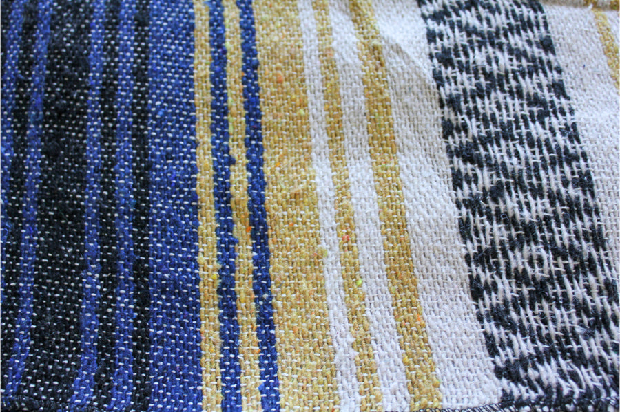 Mexican Falsa Blanket - Blue and Yellow