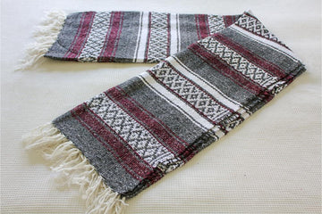 Wine and Grey Falsa Striped Blanket - Mexican Made